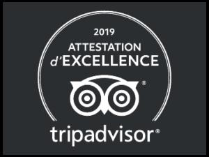 Certificat excellence 2019 Trip Advisor